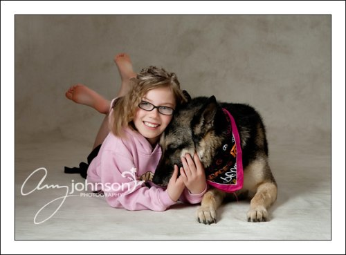 Girl and dog portrait in Conifer Colorado